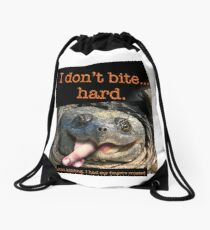 Snapping Turtle - I don't bite hard. Just kidding. I had my fingers crossed. Drawstring Bag