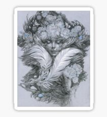 Fairy lady with white feathers and roses. Sticker