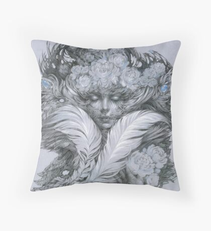 Fairy lady with white feathers and roses. Throw Pillow