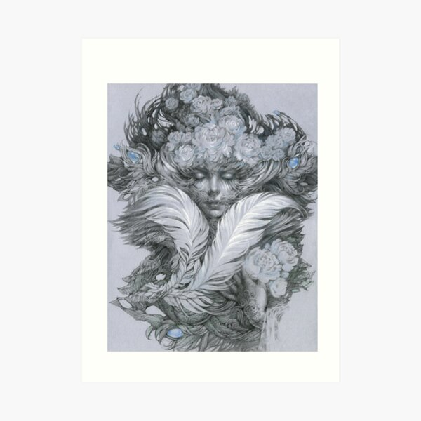 Fairy lady with white feathers and roses. Art Print