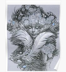 Fairy lady with white feathers and roses. Poster