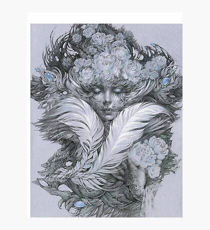 Fairy lady with white feathers and roses. Photographic Print