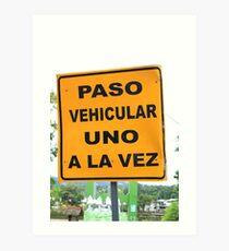 Single Lane Traffic Sign Art Print