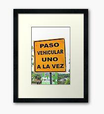 Single Lane Traffic Sign Framed Print