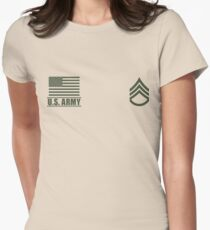 Staff Sergeant Infantry US Army Rank Desert by Mision Militar ™ Womens Fitted T-Shirt