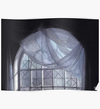 Hand-Painted Blue Curtain in an Arched Window Poster