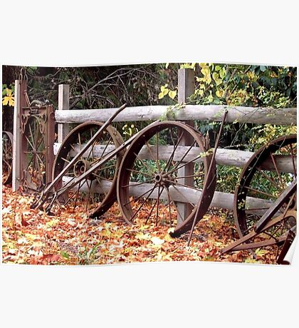 Wheel Fence in Autumn Poster