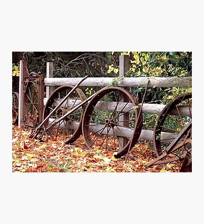 Wheel Fence in Autumn Photographic Print