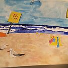 Bronte Beach with seagulls  by nicolette