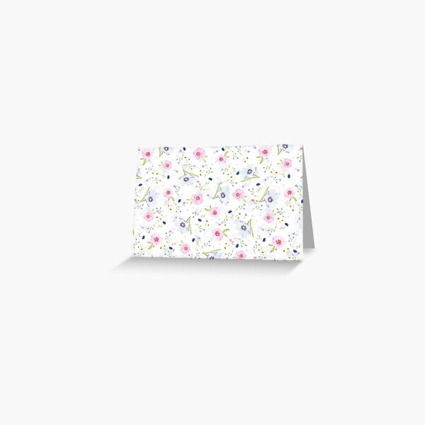 Happy Pink and Blue Pansy Flowers  Greeting Card