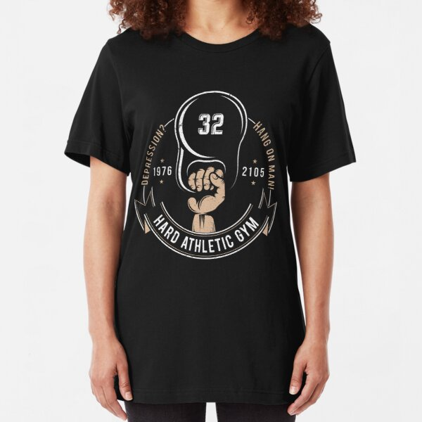 Gym vintage logo hand with kettlebell Slim Fit T-Shirt