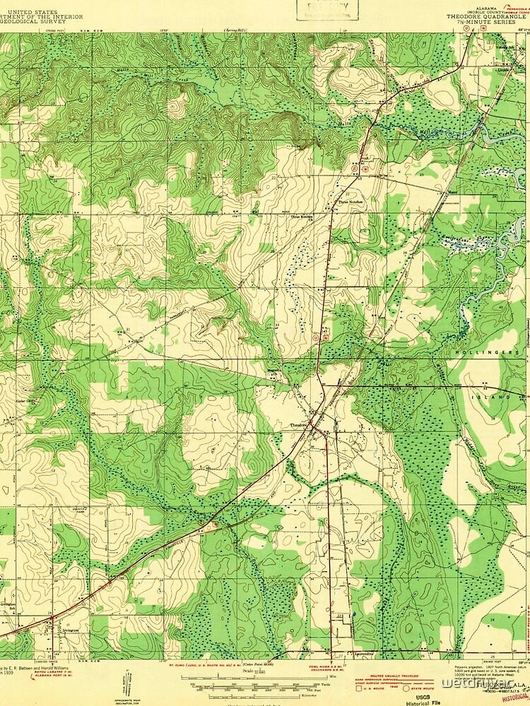 USGS TOPO Map Alabama AL Theodore 305446 1943 von wetdryvac