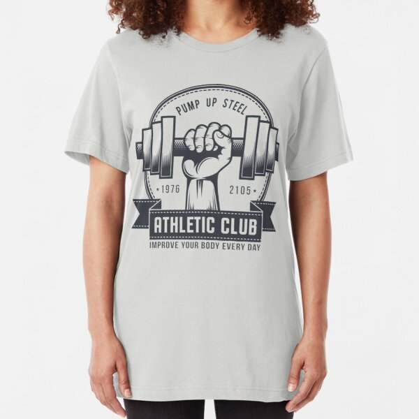 Retro gym logo on a light background Slim Fit T-Shirt
