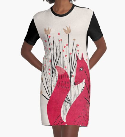 Fox in Shrub Graphic T-Shirt Dress