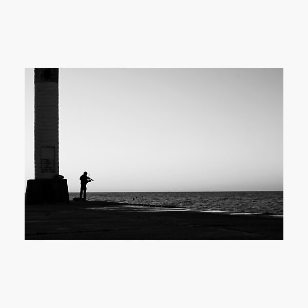 Violin Sunset Silhouette Photographic Print