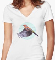 A Beautiful British Chaffinch  Women's Fitted V-Neck T-Shirt