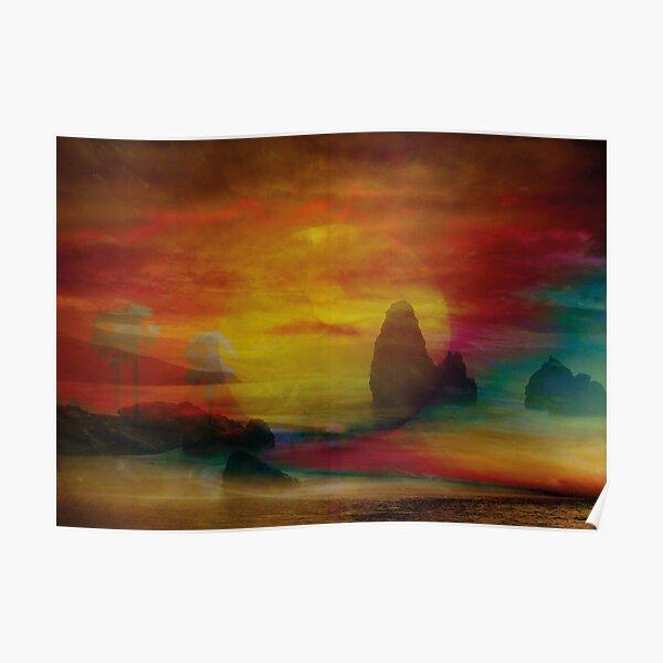 Sonnenuntergang am Meer Poster