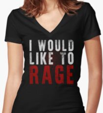 I WOULD LIKE TO RAGE!!! (White)  Women's Fitted V-Neck T-Shirt