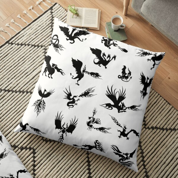 Mystical Fantasy Dragon and Phoenix Floor Pillow