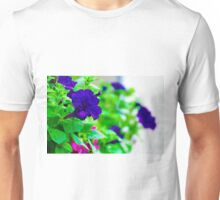 Blue Flowers in a Window Box Unisex T-Shirt