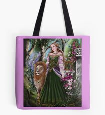 Queen of lions fairy fantasy,medieval lady  Tote Bag
