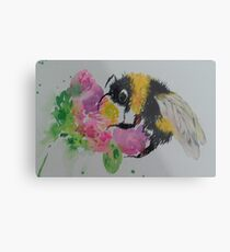 Bumble bee and pink flower Metal Print