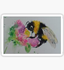 Bumble bee and pink flower Sticker