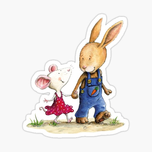 Mausi and Hase are best friends Sticker