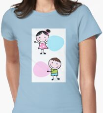 Illustration of happy Kids with Hearts Womens Fitted T-Shirt