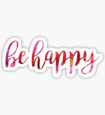 Be Happy Red Watercolor Sticker
