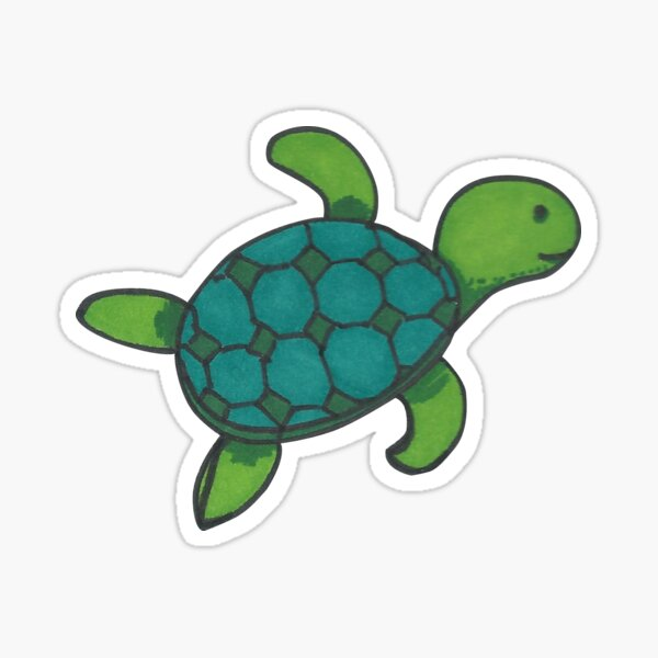 Green swimming turtle with checkered shell Sticker