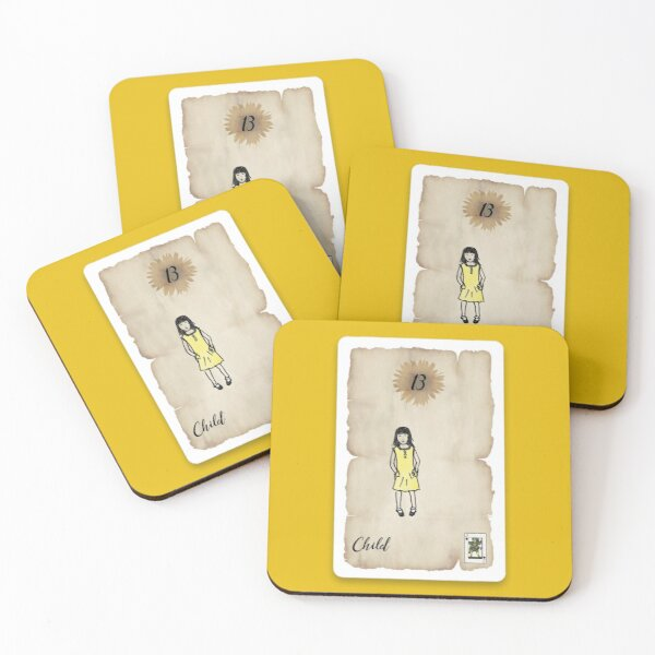 Lenormand Child Girl Card - Hand Drawn Coasters (Set of 4)
