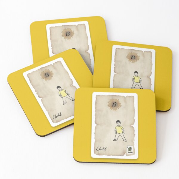 Lenormand Child Boy Card - Hand Drawn Coasters (Set of 4)