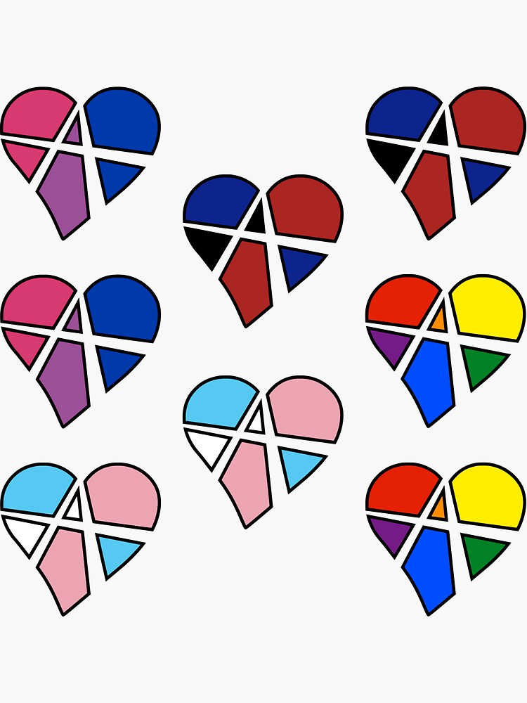 8x Queer Relationship Anarchy Pride Heart by polyphiliashop