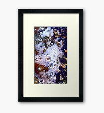 White Bubbles, Blue and Red Framed Print