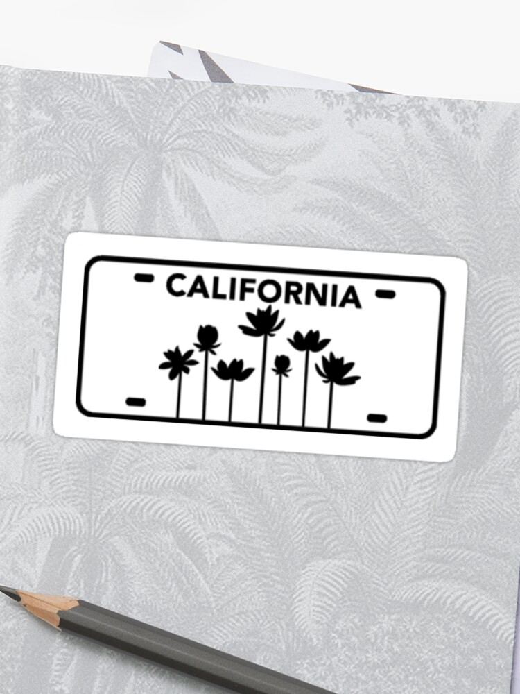 California license plate with flowers in black | Sticker