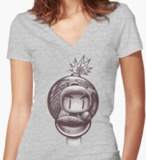HAND WITH REFLECTING BOMB Women's Fitted V-Neck T-Shirt