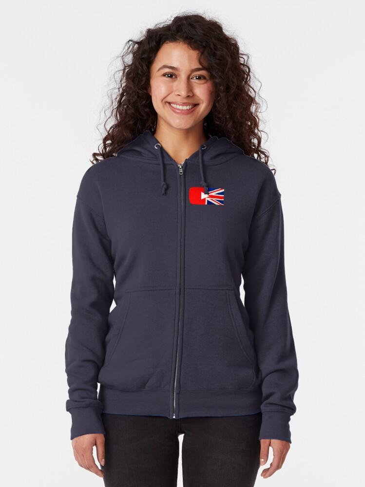 Alternate view of Great British YouTuber logo Zipped Hoodie