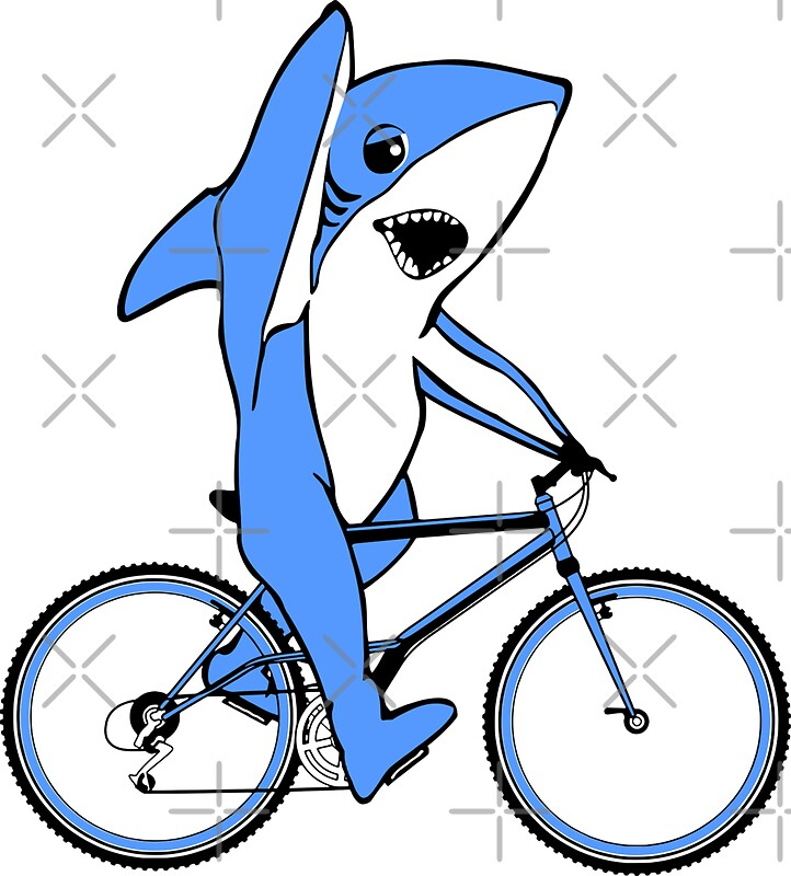 Bicycle Riding Left Shark Stickers By Ethoswear Redbubble