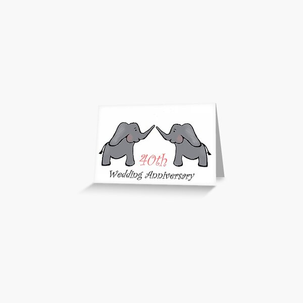 40 aniversario de bodas rubí elefante Tarjetas de felicitación