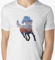 Wild Mustang Horse and Rocky Mountains Silhouette  T-Shirt