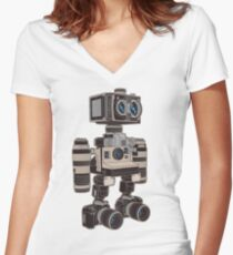 Camera Bot 6000 Women's Fitted V-Neck T-Shirt
