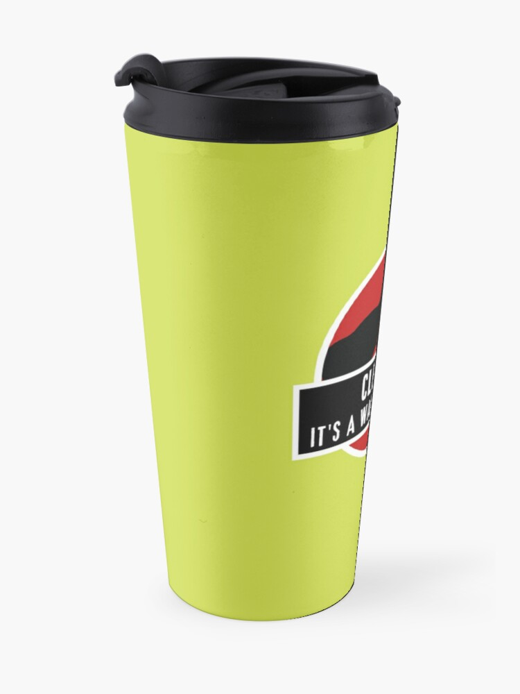 Alternate view of Walk In The Park Dinosaur Broom Fun Cleaning Lady Gifts Travel Mug
