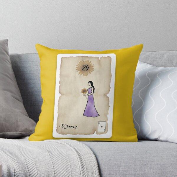 Lenormand Woman Card - Hand Drawn Throw Pillow