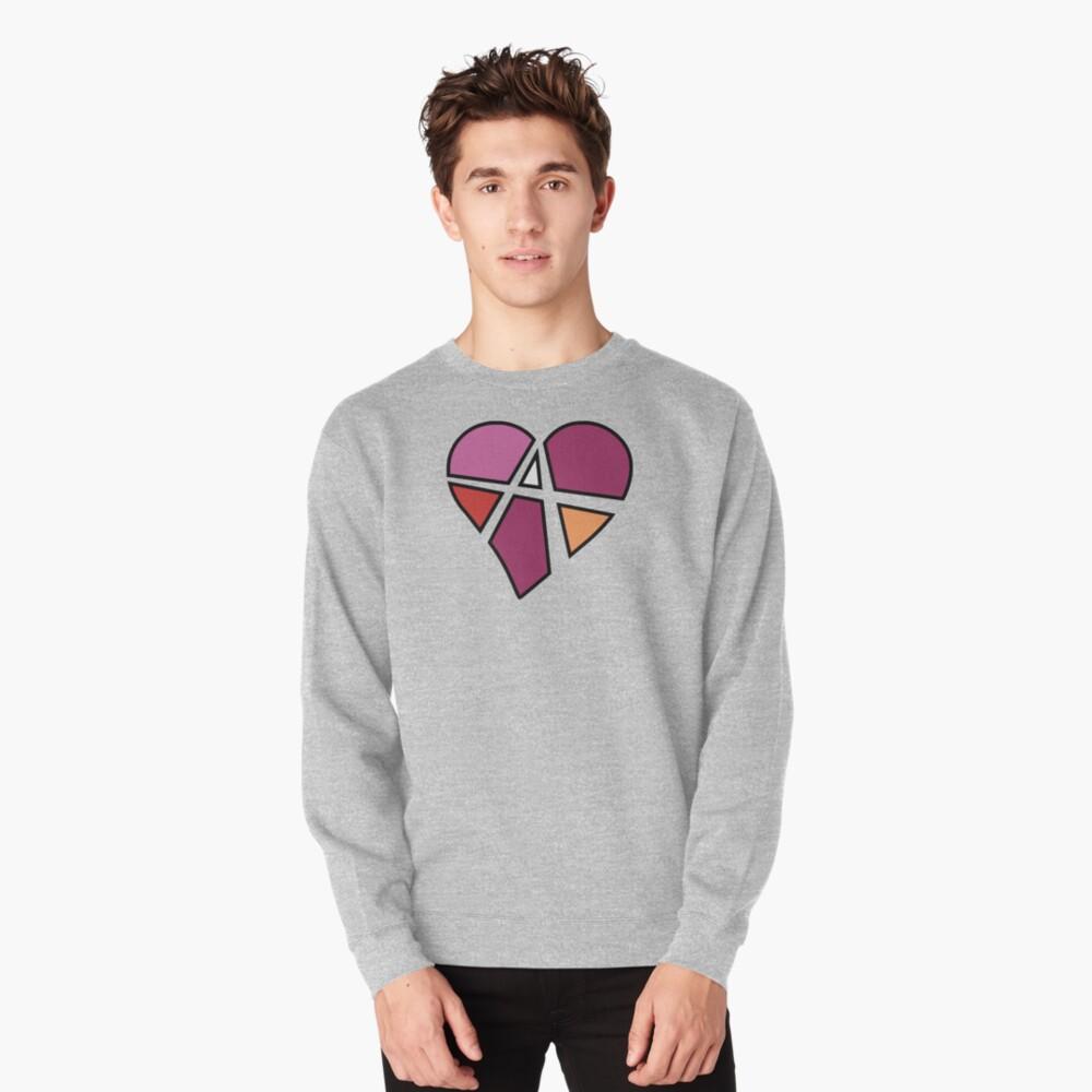 Lesbian Relationship Anarchy Heart (White) Pullover Sweatshirt