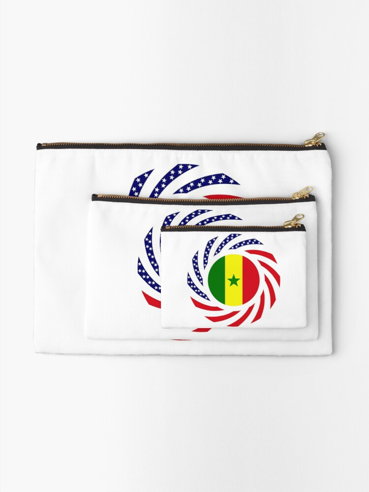 Alternate view of Senegalese American Multinational Patriot Flag Series Zipper Pouch