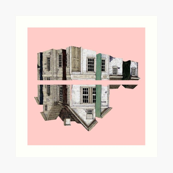 house in a pink Art Print