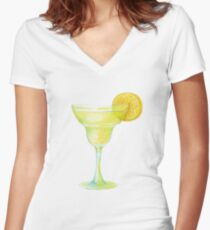 Beaker with lemon Women's Fitted V-Neck T-Shirt