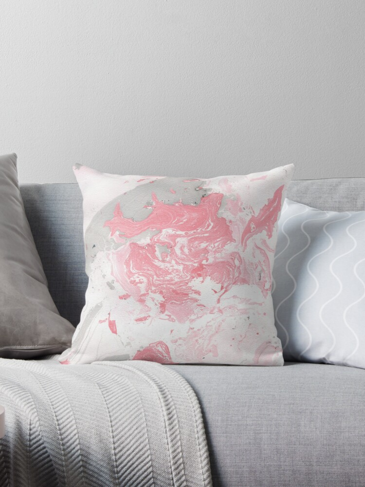 """Pink Couch Gray Living Room: """"Pink And Grey Marble"""" Throw Pillows By JuliaBadeeva"""