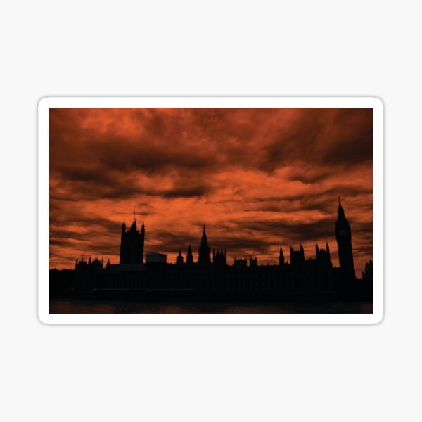 Dramatic Houses of Parliament At Dusk With Orange Clouds Sticker